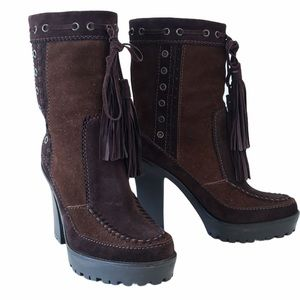 YSL suede lace up tassel heeled boots brown 7 / 37